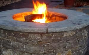 Firepit lit at night