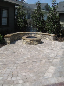 patio stone work with firepit